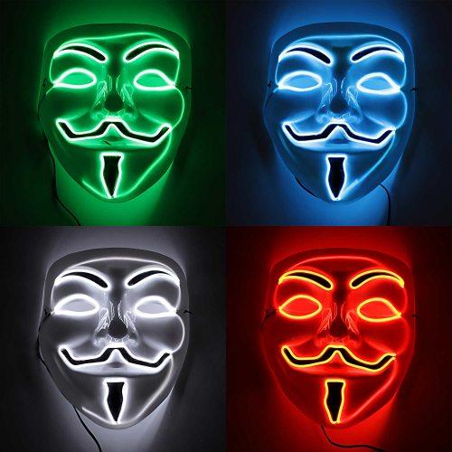 Vendetta Guy Fawkes Anonymous Gamemaster light up Maske mit LED Glühmaske