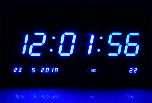Led Watch Blue Leds Digital Wall Clock