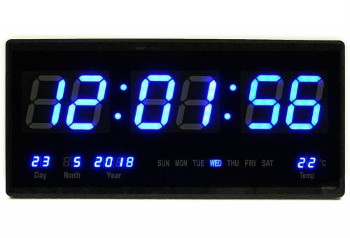 LED wall clock time date temperature