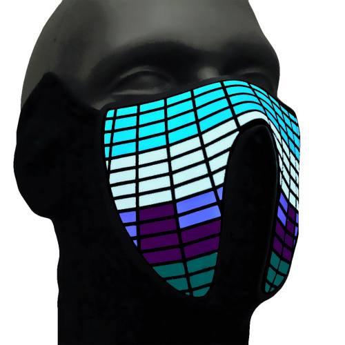 Sound Activated LED Light Up Mask,Halloween DJ Music LED Party Mask
