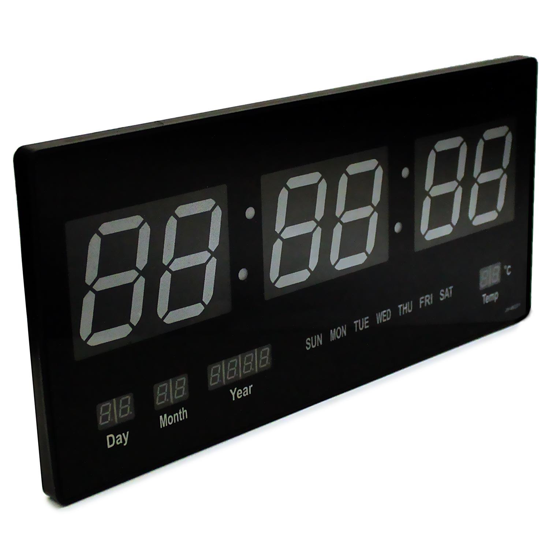 wanduhr led wanduhr mit gro er zeitanzeige datumsanzeige und temperaturanzeige. Black Bedroom Furniture Sets. Home Design Ideas