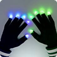 Schwarze LED-Handschuhe 7 Modi LED Party