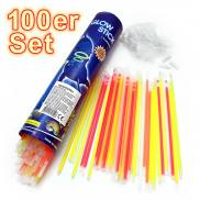 100 glow sticks in five colors with 100 connectors