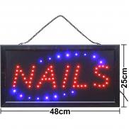 LED sign Nails blue red