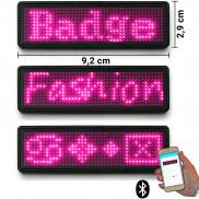 LED name tag Scrolling Bluetooth & USB programmable pink