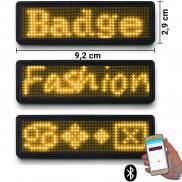 LED name tag Scrolling Bluetooth & USB programmable yellow
